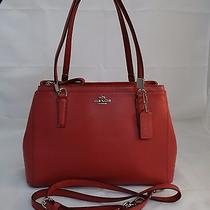 Nwt Coach Sunset Red Leather Christi Double Zipper Crossbody Tote 34673  Photo