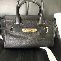 Nwt Coach Swagger 27 Pebble Leather Li/black Handbag Satchel Purse 87295 Photo