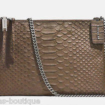 Nwt Coach Taupe Grey Python Embossed Leather Double Zip Crossbody 51865 Gift Rct Photo