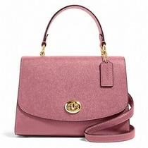 Nwt Coach Tilly Top Handle Satchel Classic Flap Leather Lock Rose Pink 76618 Photo