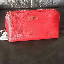 Nwt Coach True Red Crossgrain Leather Cosmetic Case F53386 Photo