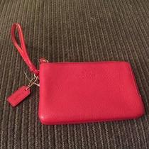 Nwt Coach True Red Pebbled Leather Double Corner Zip Wristlet Purse 95 F66505 Photo