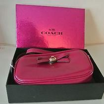Nwt Coach Turnlock Bow Crossbody Pouch Leather Cranberry F64655 Gift Box 175 Photo