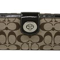 Nwt--Coach Turnlock Checkbook Wallet Khaki/mahogany Brown 43613 Skhbk Photo
