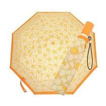 Nwt Coach Umbrella Orange Signature Cute Logo Print Nylon Light Khaki 1562 Photo