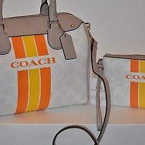 Nwt Coach Varsity Stripe Bennett Satchel & Wristlet  2 Piece Set Free Shipping Photo