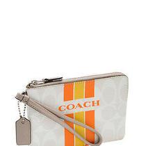 Nwt Coach Varsity Stripe Corner Zip Wristlet in Chalk Orange 1 F 66052 80 Photo