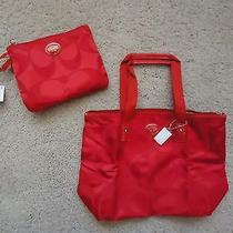 Nwt Coach Vermillion (Orange) Nylon Small Packable Bag Tote 77322 - Great Color Photo