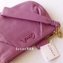 Nwt Coach Violet Parker Pleated Leather Large Wristlet Photo