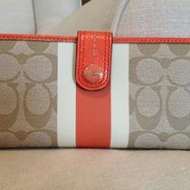 Nwt Coach Wallet Light Khaki / Orange (Coral)  Photo
