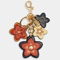 Nwt Coach Wildflower Mix Bag Charm Key Chain Fob Ring 5136 98 Bright Ginger Photo