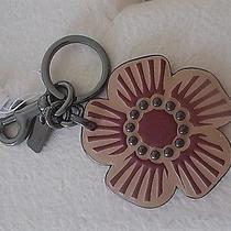 Nwt  Coachwillow Floral Key Ring & Bag Charm Leather Beachwood2 1/2