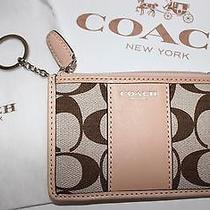 Nwt Coach Women's Khaki Sig C Natural Leather Slim Id Key/card Case W/gift Box Photo