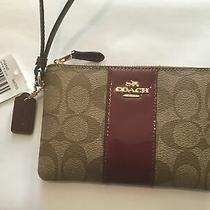 Nwt Coach Women's Wristlet Wallet Change Case Brown Red F54460 With Box(new) Photo