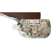 Nwt Coach Wristlet Purse Soho Optic Linen/leather - Blue/lavender/off White 98 Photo