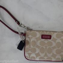 Nwt Coach Wristlet With Gift Box and Bag Beige/purple Photo