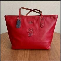 Nwt Coach X Disney 38621 Minnie Mouse Motif Red City Zip Tote Shoulder Bag Photo