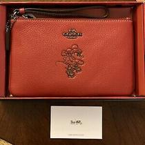 Nwt Coach X Disney Gift Boxed Minnie Mouse Small Wristlet Red Photo