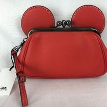 Nwt Coach X Disney Ltd Edition Mickey Mouse Red Kisslock Wristlet Clutch 65794 Photo