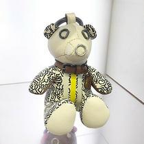 Nwt Coach X Keith Haring Leather Teddy Bear Key Ring Keychain  White F87380 Photo