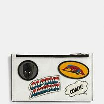 Nwt Coach X Marvel 1855 Zip Card Signature Canvas W/patches Msrp 150  Photo