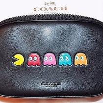 Nwt Coach X Pac-Man Crossbody Pouch in Calf Leather Black  225 Limited Edition Photo
