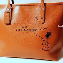 Nwt Coach X Peanuts Snoopy Heart City Zip Tote Bag Purse Leather Saddle Brown Le Photo