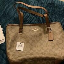 Nwt Coach Zip Top Tote Canvas Shoulder Classic Leather Khaki Photo
