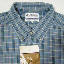 Nwt Columbia Shirt Xl Plaid Blue Textured Camping Outdoors  Photo
