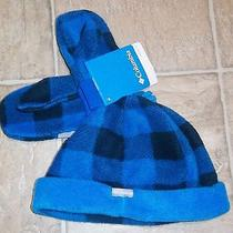 Nwt Columbia Sz O/s Fleece Hat and Mittens or Gloves Blue Black Toddler Photo