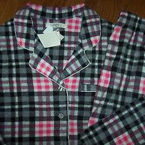 Nwt Company Ellen Tracy Black/pink/silver Plaid Fleece Pajama Top/pants Set L Photo