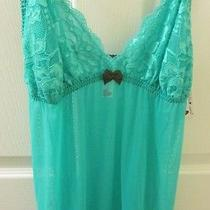Nwt -Cosabella - Size Xl -  Pool Green Sheer  Lace Embellished Nightie Photo