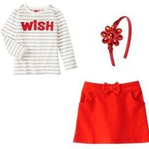 Nwt Crazy 8 Shine on 3pc Set/outfit Striped Top Red Skirt & Headband Sz 5t Photo