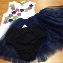 Nwt Crazy8 Ivory Top W/flowers/gap Navy Blue Panties/boutique Tutu 2t Outfit Photo