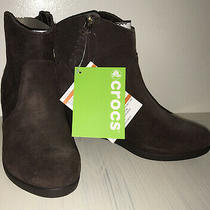 Nwt Crocs Bootie Leigh Wedge Chelsea Brown Bootie Ladies Size 7 Photo