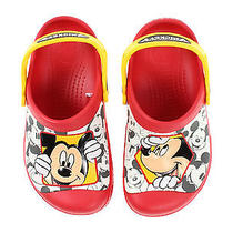 Nwt Crocs Kids Mickey Mouse Peek a Boo Red Yellow Slides Shoes Sandals 2 op&co Photo