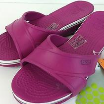 Nwt Crocs Womens Size W9 Crocband Wedge Berry/berry Shoes Sandals New Photo