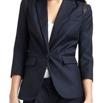 Nwt Cut 25 by Yigal Azrouel Leather Trim Navy Blue Gabardine Blazer Jacket 10 Photo