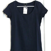 Nwt Dark Blue Basic Tee Shirt by h&m Cotton Blend Women's Size Medium (1442) Photo