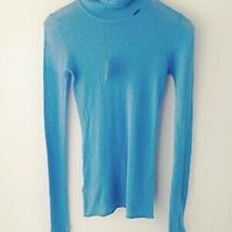 Nwt Defect Bcbg Max Azria Blue Cotton Cashmere Blend Turtleneck Top Fitted Xs Photo