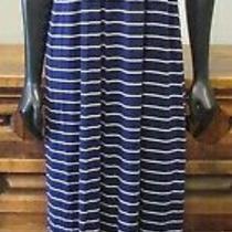 Nwt Design History Purple White Striped Maxi Dress Empire Waist Woven Strap- M Photo