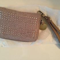 Nwt Deux Lux Wristlet Zip Around Wallet W Crystal Emb Lt Brown W Vegan Leather  Photo
