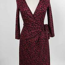Nwt Diana Von Furtsenberg Red Black Silk Abstract 3/4 Sleeve Wrap Dress Size 6 Photo