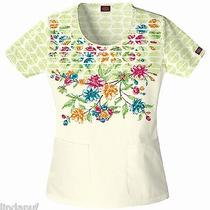Nwt Dickies Jr 82804b Scoop Neck Scrubs Top Vintage Vines Medium Free Ship Photo