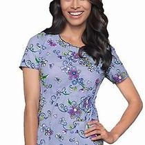 Nwt Dickies Jr 82845 Smocked Neck Scrub Top Purple Print Medium Free Ship Photo