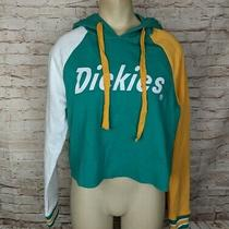 Nwt Dickies Juniors M Cropped Hoodie Sweatshirt Green Mustard Yellow Spellout Photo