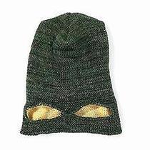 Nwt Diesel Mask Eye Italy Mens Knit Beanie Hat Green Yellow Marled Cap Designer Photo
