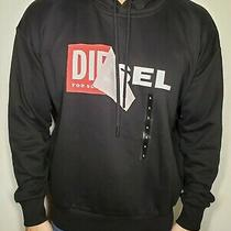 Nwt Diesel Men's S-Alby Peel Logo Black Hoodie Longsleeve Pullover Shirt Large  Photo