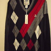 Nwt Diesel Men's v-Neck Knit Wool Sweater Gray Red Black Size M. 195 Photo