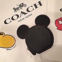 Nwt Disney Coach Mickey Mouse Ears Coin Purse Black Photo